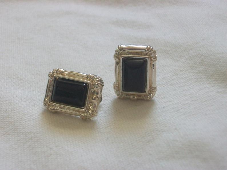27bc2de02fb9 Plata de berenjena o negro pendientes de piedra Clip Clip
