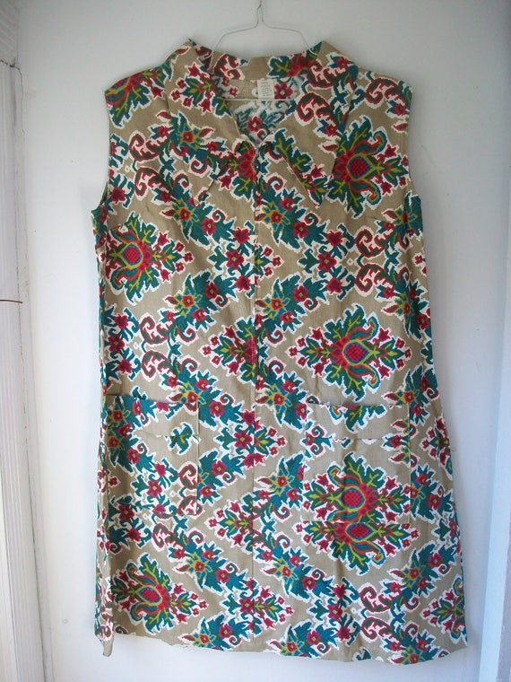 Vintage Sleeveless Floral Print House Dress Frock