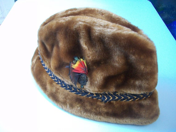Men's Vintage Velour Hat, Brown Faux Fur Fedora Bu
