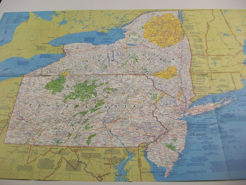 Vintage Ny Nj Pa Map National Geographic Map New York New Etsy