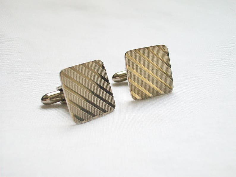 Square Lines Cuff Links Vintage Men/'s Silver Tone Ridged Ribbed Square Cufflinks Diagonal Lines Cuff Links Men/'s Vintage Jewelry