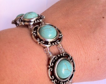 Natural Turqoise flower silver bracelet with round lock 8 inch