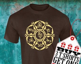 Mantra and Lotus Flower Tshirt!!! OM Mani Padme Hum!!! Mandala Tshirts