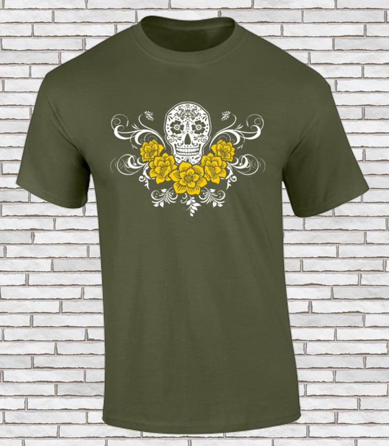 ce095fc7 Sugar Skull T Shirt Mexican Skull of the Day of the Dead | Etsy