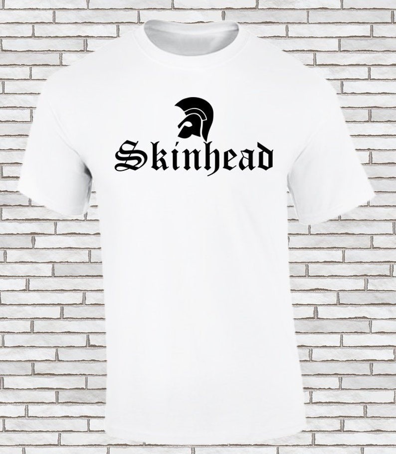 Skinhead Black Design Heather Grey T-SHIRT ALL SIZES