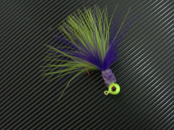 a chartreuse and purple crappie jig color m37 purple etsy