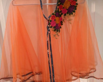 Beautiful party wear Poncho,a wrap net material with Embroidred patch and side pipings