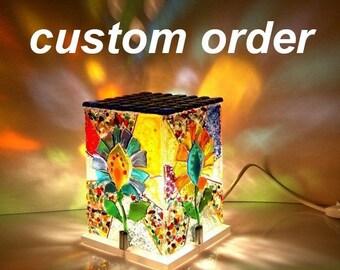 Table lamp, fused art glass lamp