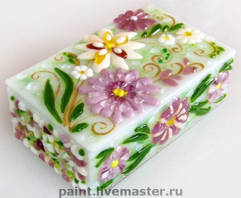 Glass Jewelry Box Harmony house Home D\u00e9cor Wedding gift Keepsake glass box Flowers Fused glass