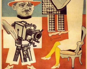 """Soviet Constructivist posters / Old film poster / """"Glass Eye"""" / Moscow 1928"""