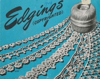 Edgings Vintage Pattern book PDF / Instant download / Star Book 41 / Crochet lace edgings / tatted lace edgings / knitted lace edgings