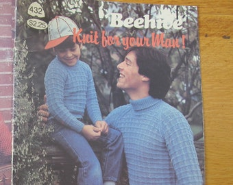 Beehive Knit for your Man! / Beehive 432 / Boys men knitting patterns / Vest knitting pattern / pullover knitting patterns