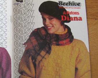 Patons Diana Easy Knits / Beehive 458 / Sweater knitting pattern / Cardigan pattern / Shetland style chunky knitting patterns