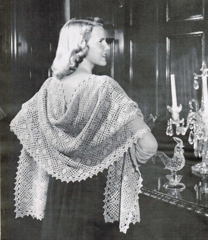 Vintage Crocheted Lace Stole Pattern Womans Romantic Etsy