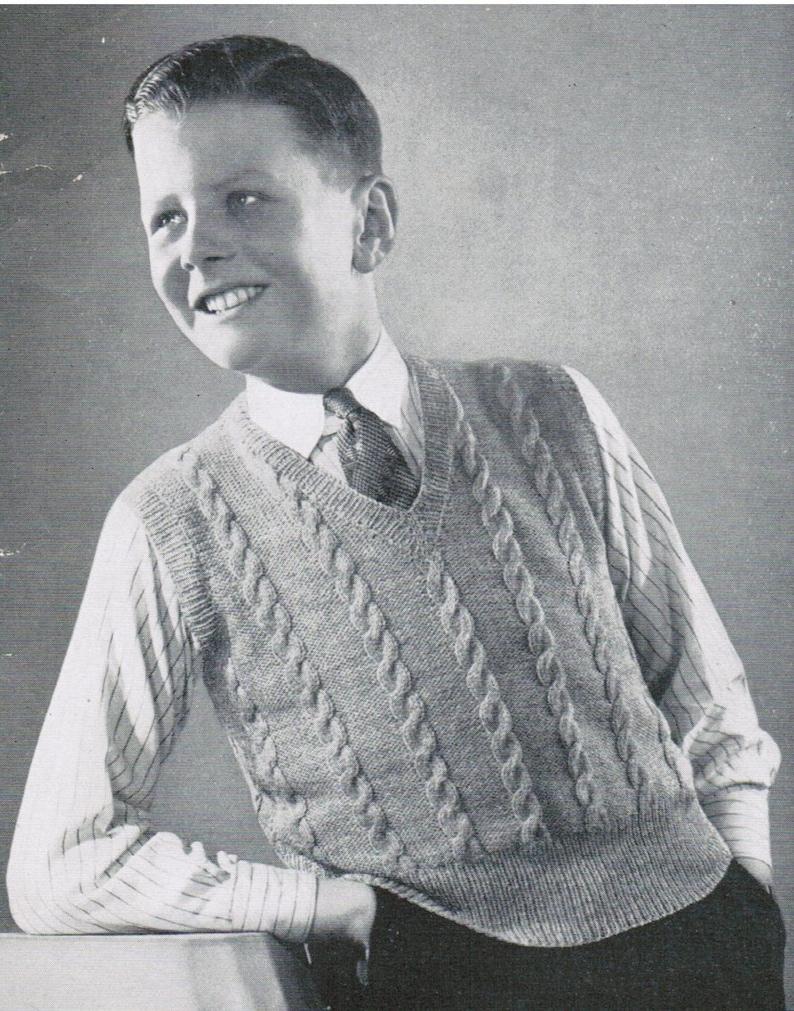 0a6307fbf9fe4 Boys Cable Pullover Vest Knitting Pattern PDF   Size 14
