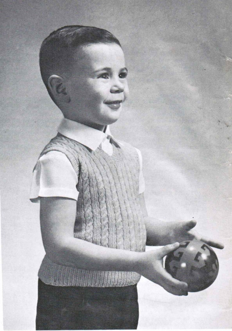 fbd9125a6 Vintage Boy s Cable Sleeveless Sweater Knitting Pattern