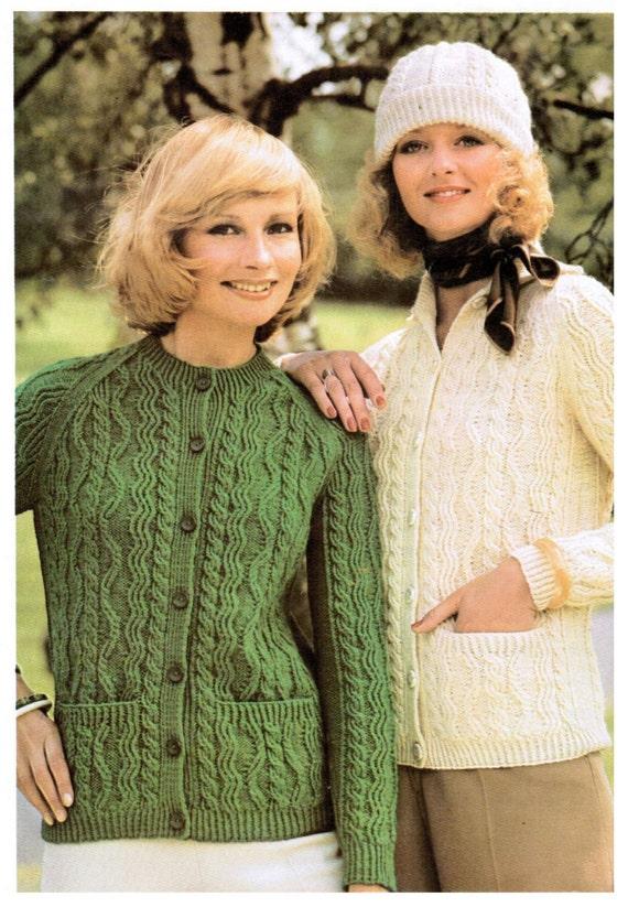 Aran Womens Button Up Cardigan Knitting Pattern Pdf Etsy