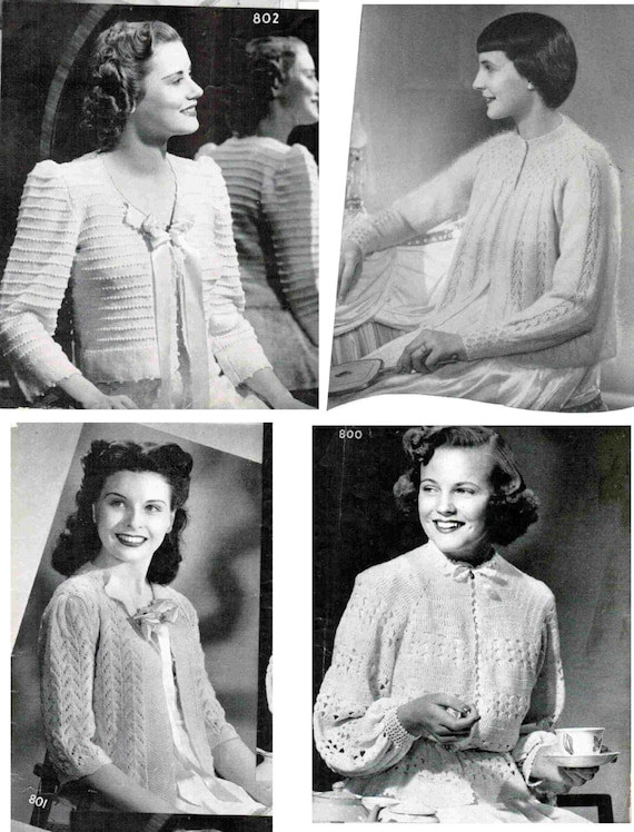 Knit And Crochet Lacy Bed Jacket Patterns Set Of 4 Bed Etsy