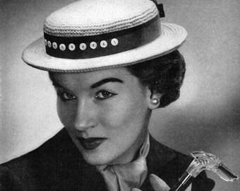 Woman's Sailor Hat Crochet Pattern PDF Instant download / Vintage hat pattern / Crochet Sailor Hat Pattern