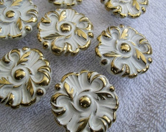 French Provincial cream and gold drawer knobs / RDCA 1960 knobs /