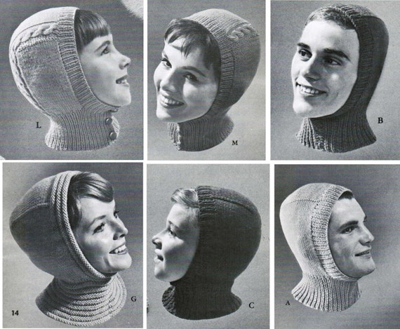 Knitted Helmet Hat Patterns for the whole family set of 3 /