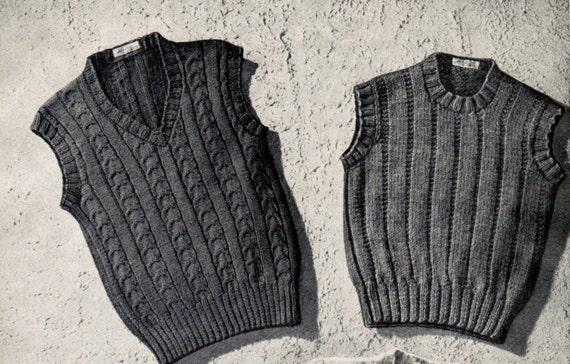 Vintage Boy's Sleeveless Sweaters Knitting Patterns PDF | Etsy
