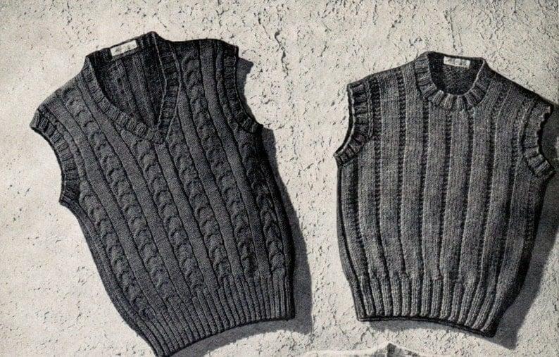3728476d9d1ea Vintage Boy s Sleeveless Sweaters Knitting Patterns PDF