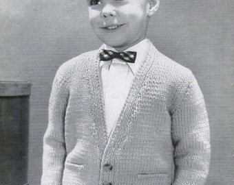 Children's V-Neck Buttoned Cardigan knitting Pattern PDF / Sizes 6, 8, 10 and 12 / Girl's Boy's v-neck Cardigan