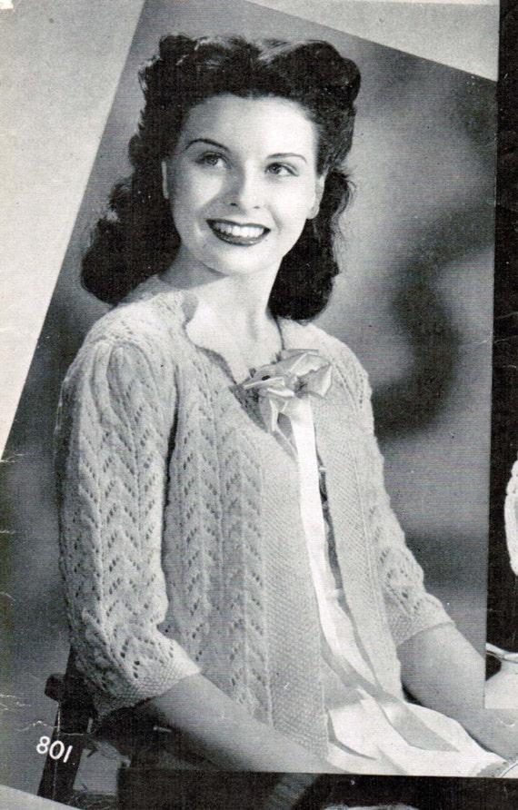 Womens Lacy Bed Jacket Knitting Pattern Pdf Size Medium Etsy