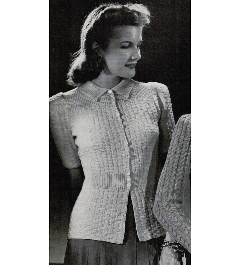 178dc57c8 1940 s Woman s Basket Weave Cardigan Knitting Pattern