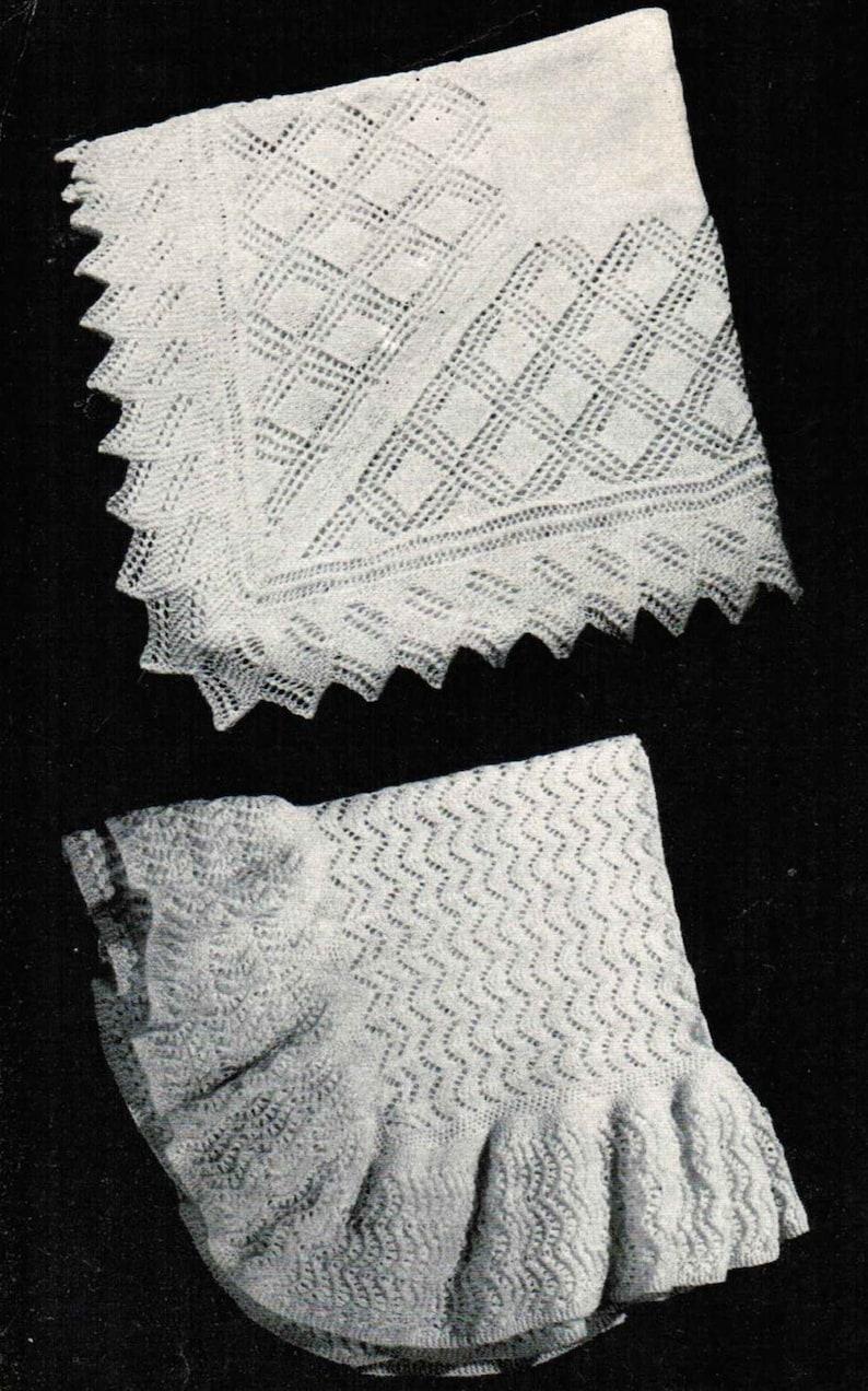 Vintage Baby Shawl Patterns Pdf Set Of 2 Monarch Baby Etsy