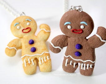 Gingerbread Men Necklace / Necklace Fimo - biscuits of Christmas - Jewels Food-collection of Christmas