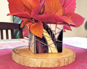 Purple Stained Glass Candle Holder/Vase, Purple Mosaic Candle Holder, Purple Candle Holder