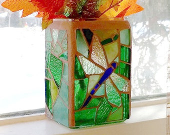Stained Glass Dragonfly Candle Holder, Green Stained Glass Mosaic Candle Holder/Vase, Blue Dragonfly Candle Holder, Green Glass Vase
