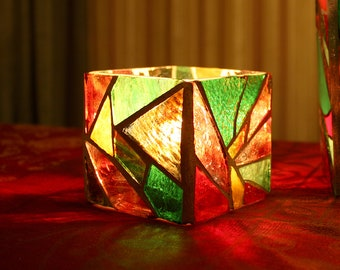 Mosaic Candle Holder, Stained Glass Rustic Candle Holder