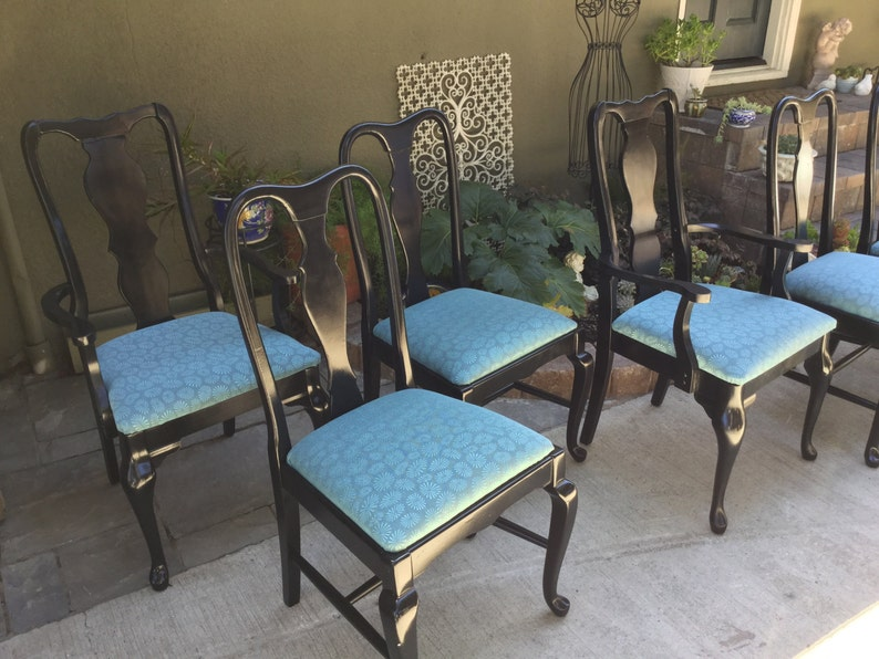 Strange Sold 6 Queen Anne Dining Chairs In Black Turquoise Creativecarmelina Interior Chair Design Creativecarmelinacom