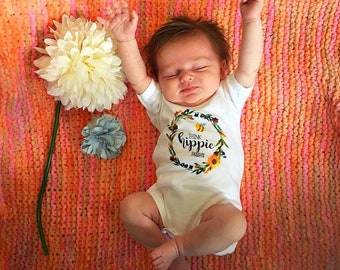 Think Hippie Thoughts Hippie Baby Shower Gift Organic hippie baby clothes Hippie toddler Organic Romper Cute Toddler Shirts Cute