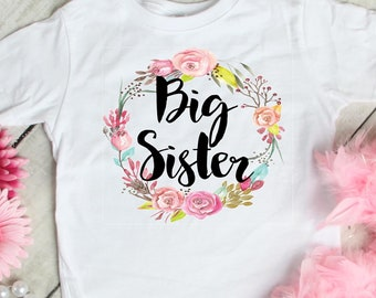 bf1aa131f Big Sister T-Shirt Baby Announcement T-Shirt Sister Shirts Big Sister  Flower T-Shirt Floral Wreath Tee Sibling Tee Organic Sister Shirt