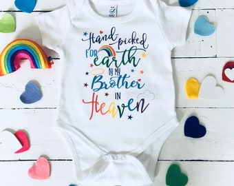 d6f54fe33147f Hand Picked by my Brother in Heaven-Rainbow Baby Shower- Rainbow Baby  Outfit-Rainbow Announcement -Rainbow Baby Gifts- Guardian Angels