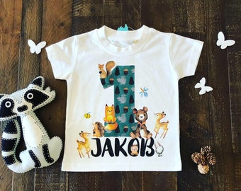 1st Birthday T Shirt My First Top Woodland Theme Party Boy Organic Baby Clothes