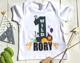 First Birthday Shirt Wild One Jungle Theme Outfit Kids Organic Baby My 1st Sons
