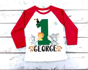 Jungle Birthday Shirt First Wild One Theme Outfit Kids Organic Baby My 1st Sons
