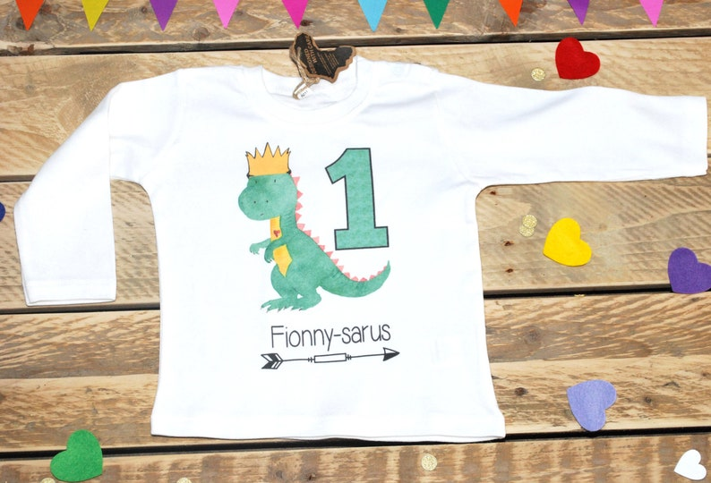 Personalized First Birthday Shirt One Year Old Dino