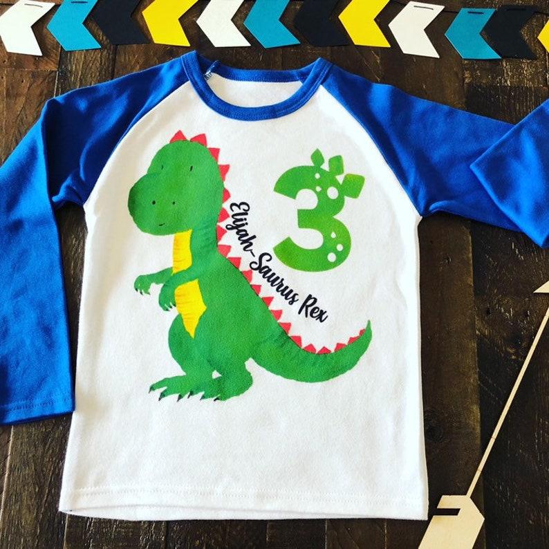 3 SaurusRex Personalized Birthday Shirt Dino