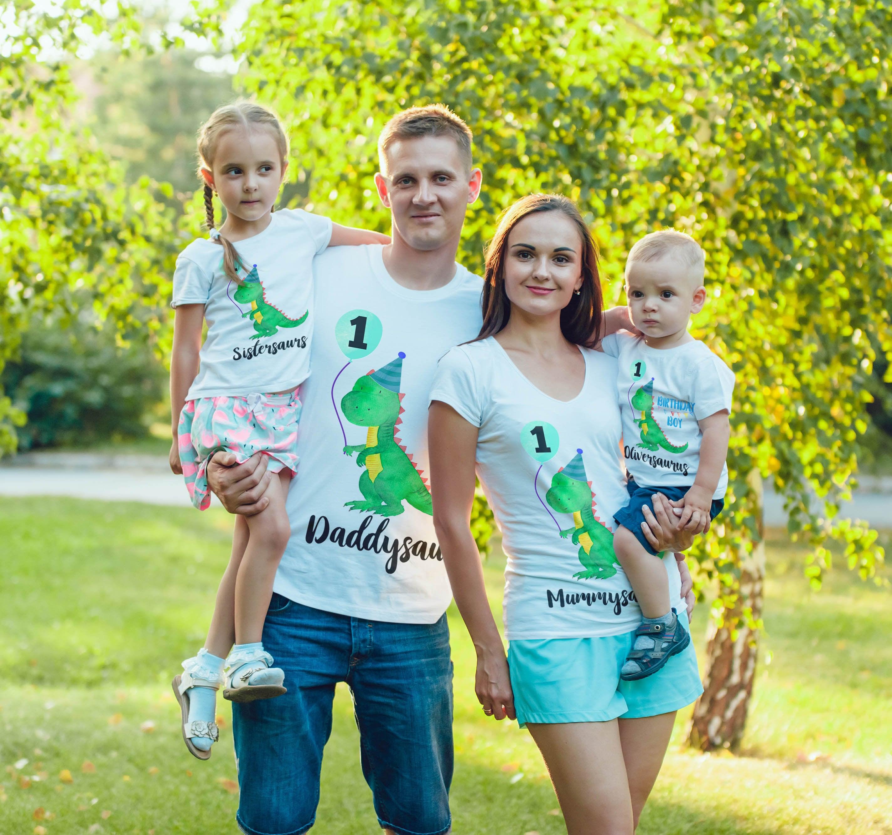 Dinosaur 1st Birthday Family Shirts Birthday Shirts 1st