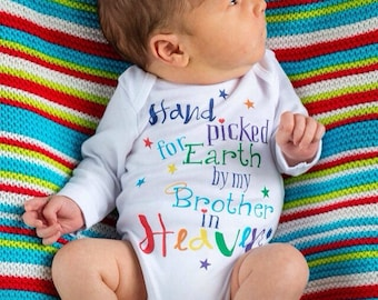 Hand Picked for Earth  by my Brother in Heaven-Rainbow Baby Shower- Rainbow Baby Outfit-Rainbow Announcement Organic Baby Clothes