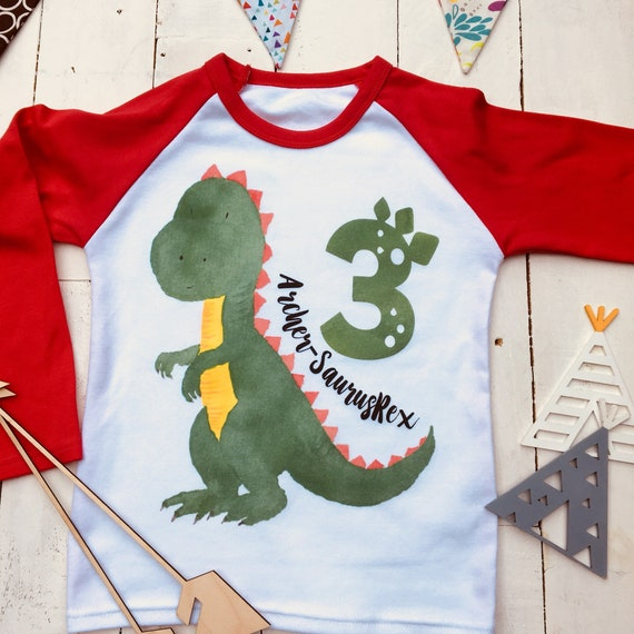 3 SaurusRex Personalized Birthday Shirt Dino
