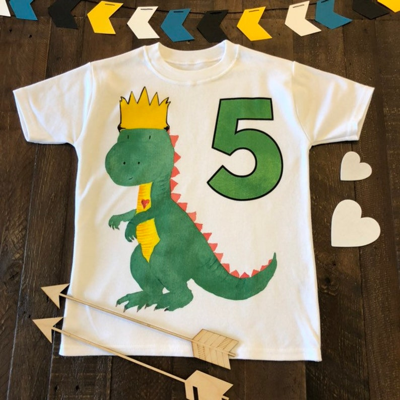 46849f694 Dinosaur Fifth Birthday Shirt Five Year Old Dino Birthday | Etsy