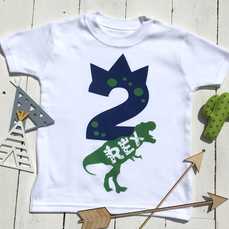 Two Rex Birthday Shirt Year Old Dino 2