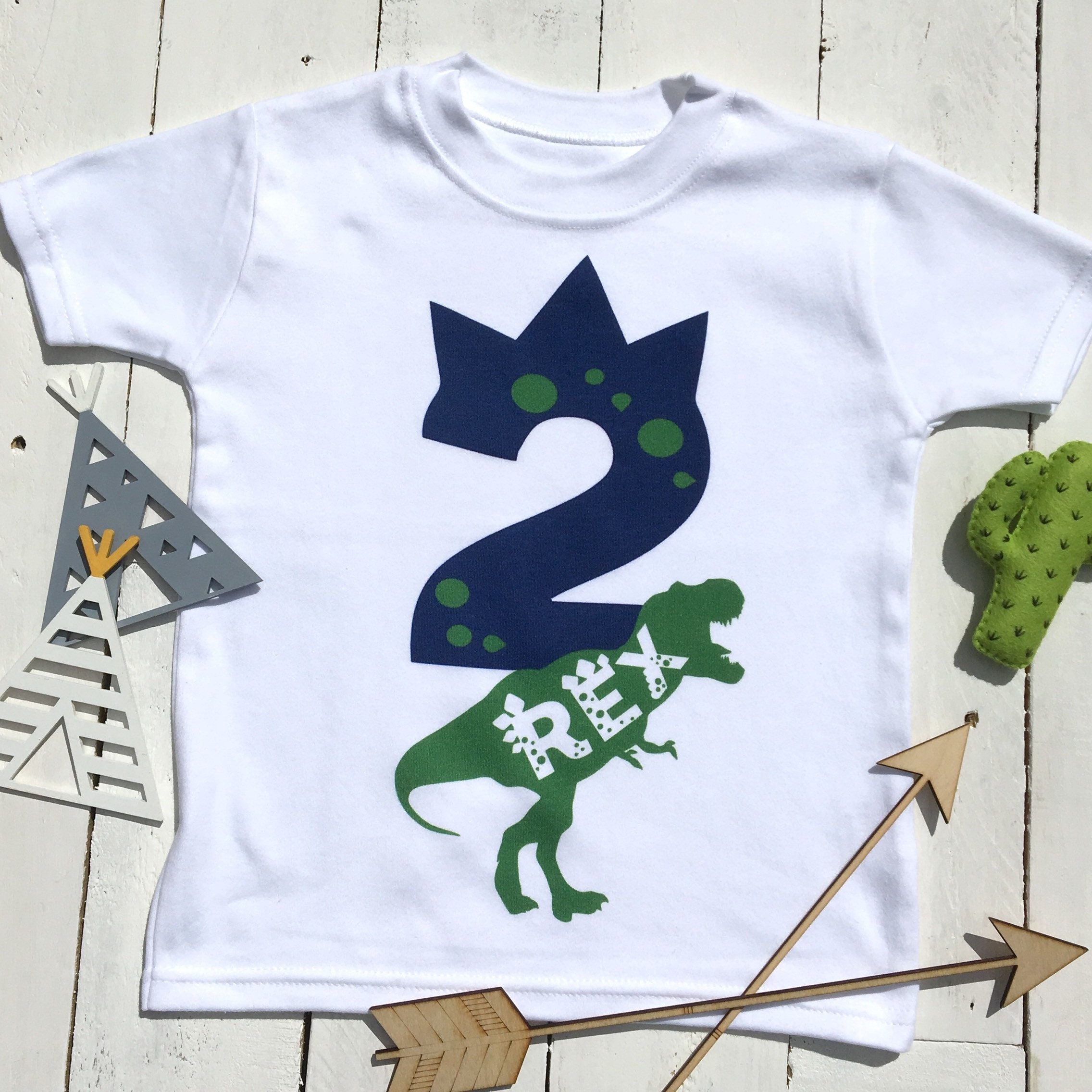 Two Rex Birthday Shirt Year Old Dino 2